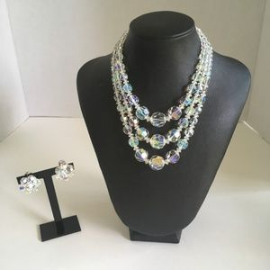 Triple Strand AB Crystal Bead Necklace & Earrings